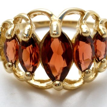 Garnet Ring 10K Yellow Gold Size 7