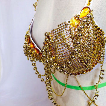 Golden Love rave bra / rave wear / EDC outfit / Halloween / belly dance