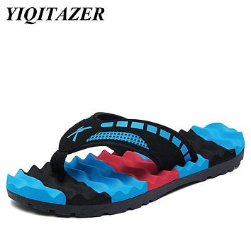 YIQITAZER 2017 New Fashion Casual Shoes Men Flip Flops Massage,Summer Cool Water Striped Slipon Mens Slippers Plus Size 44 45