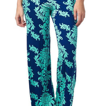 Green Floral Patterned Palazzo Pants