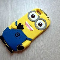 Ipod Touch Skin Despicable Me 2 Minion Silicone Case Cover For Ipod Touch 4 or 5 (Ipod 5 Double Eye Blue)