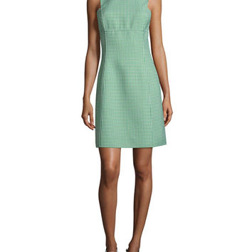 Michael Kors Collection Sleeveless Gingham A-Line Dress, Lawn