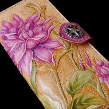 Handcraft vintage hand painting Dahlia pinnata leather long wallet for women
