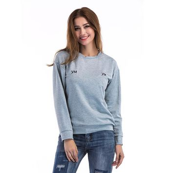 Tops Long Sleeve Round-neck Embroidery Alphabet Hoodies [11335937095]