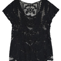 Black Crochet Lace Short Sleeve Mesh T-shirt - Choies.com