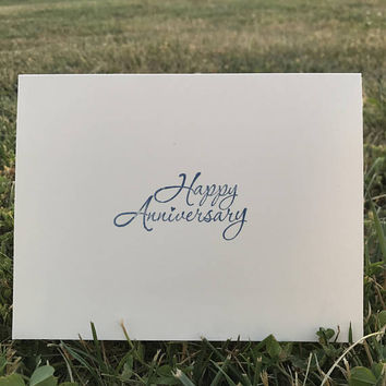 Happy Anniversary Greeting Card / Blue Cursive Lettering /Blank on the Inside / Hand Stamped Homemade Card / Anniversary Card