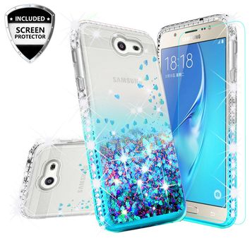 Samsung Galaxy J3 (2017) ,Galaxy J3 Emerge Case Liquid Glitter Phone Case Waterfall Floating Quicksand Bling Sparkle Cute Protective Girls Women Cover for Galaxy J3 Emerge/J3 (2017)/J3 Prime/Express Prime 2/Amp Prime 2 - Teal
