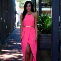 Pink High-Low Wrap Dress with Halter Neck