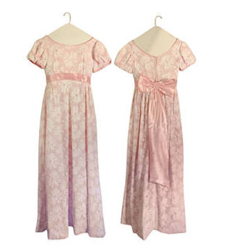 Vintage Pink Dress 60s Dress Pink Maxi Dress Semi Formal Dress Bow Dress Empire Waist Dress Full Lengt Dress 60s Maxi Dress 1960s Dress
