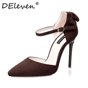 2016 New Vogue Mary Janes Suede Bowknot Pointed Toe High Heel Pumps Buckle Strap Women Shoes Sexy Zapatos Mujer Black Gray Brown