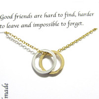 Best Friend Gift, Best Friend Necklace | Gold A5 Twin Circle | Twin Circle Necklace, Friendship Necklace, Gift For Friend, Birthday Gift