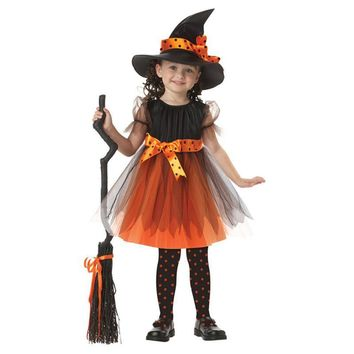 2017 Girl Witch Dress + Hat Cap Belt Princess Party Dresses Tutu Baby Kids Children Clothing Carnival Halloween Cosplay Costume