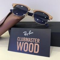 Ray-Ban Sunglasses RB3016M 1180R5 Clubmaster Wood Brown/Blue