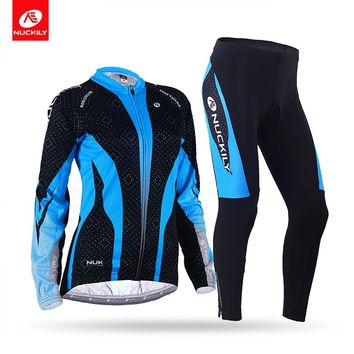 NUCKILY Winter Womens Road Bike Jersey Long Sleeves Fleece Thermal Sublimation Cycling Jacket Suit GE007GF007