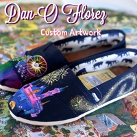 Ready to ship size 10 Womens Custom TOMS Disneyland Sleeping Beauty Castle & World of Color Artwork. Shoes included