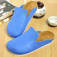 New Spring Summer Autumn women Cork Shoes Babouche Sandals Flat Solid Women Closed Toe Sandals slip-on Slippers Plus Size 36-43