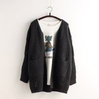 Pocket Loose Knit Cable Hollow Solid Color Sweater