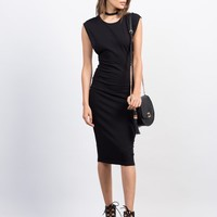 Deep Side Cut Midi Dress
