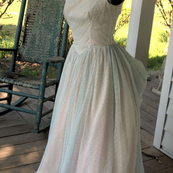 1940s to 1950s Vintage Prom Dress of Dotted Swiss CHIFFON Size XXS