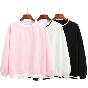 Kawaii Striped Fleece Pullover