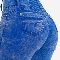 High Waisted Butt Lifting Blue Burnout Jeans