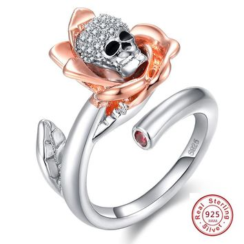 NEW Rose Flower Gothic Skull 925 Sterling Silver Ring For Women leaves Punk Style Motor Biker Men Ring with AAA CZ skull jewelry