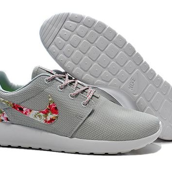 Nike Roshe Run Shoes Floral Running Shoes Gray