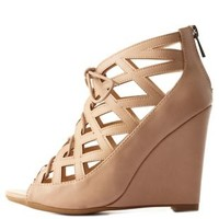 Bamboo Caged Cut-Out Lace-Up Wedges by Charlotte Russe - Nude