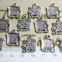 12 pcs a pkg - 14mm Mayan Glyph Charm Antique Silver Finish Lead Free Pewter