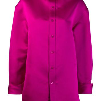 Hot Pink Silk Button-Up Shirt by Balenciaga
