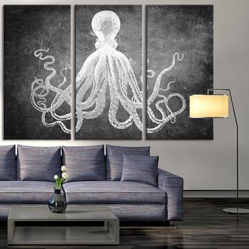 Extra Large Octopus Canvas Print, Octopus Canvas Print, Animal Wall Art Canvas Print for Office Decorations, Custom Color Background