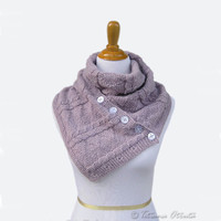 Hand knit buttoned scarf lavender loop cowl purple gift women MADE TO ORDER - choose color