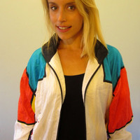 80s Windbreaker Jacket• Nylon Sporty Warm Up Track Jacket • Total Impact TI Size XL • Breakdancer Tracksuit • Geometric