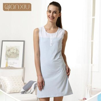 DCCKL3Z Qianxiu Cotton Pajamas Summer Coulp Lounge Wear Men short-sleeve  Pajama Set  Women sleeveless one-piece Nightgown