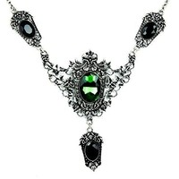 Gothic Poison Ivy Necklace with Victorian Leaves and Green Stone