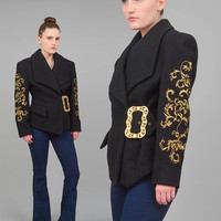 80s Black Wool Coat Metallic Gold BAROQUE Short Coat 1980s Embroidered Blazer Oversize Ornate Buckle Belted Jacket Small XS S