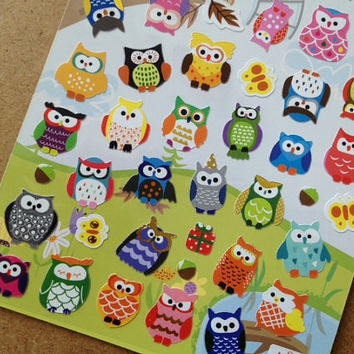 Colorful owl sticker little baby owl stickers cute bird lovely animal kawaii label OOAK special card scrapbook Diary sticker handmade card