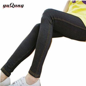 yuqung Women's leggings xxl fitness big size black high waist Jeggings Jean For Women Faux Denim legins Pants leggins