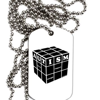 Autism Awareness - Cube B & W Adult Dog Tag Chain Necklace by TooLoud