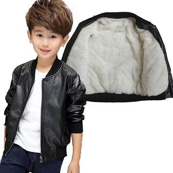 GCWHFL Children PU Leather Jackets Boys Winter Thick Warm Leather Coat Spring Autumn Boy Jacket Solid Casual Outerwear 3T-15T