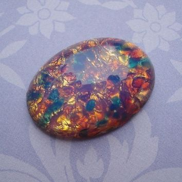 Vintage 25x18mm Czech Harlequin Fire Opal Unfoiled Flat Back Oval Glass Cab or Stone (1 pc)