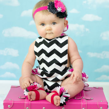 Chevron Black & Pink Baby Bubble Ruffle Romper Sun Suit