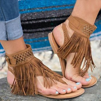 Women Sandals Tassels Shoes T-Strap Flat Shoes Gladiator Flip Flops Sandals