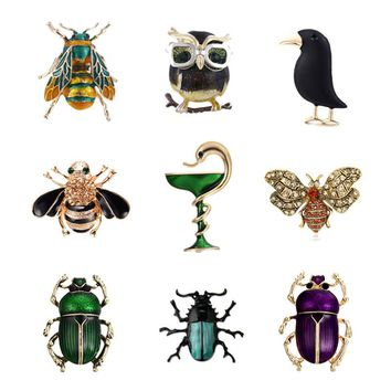 Lovely Animal Snake Owl Crow Brooches Pins Beetle Cockroach Broach Enamel Insect Bee Collar Badge Jewelry for Women Men Gifts
