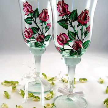 Wedding Wine Glasses For The Bride  And Groom