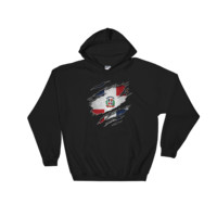 Dominican Flag Ripped Chest - Hooded Sweatshirt