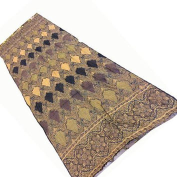 Wrap Shawl Brown Gold Paisley Sequin Embroidered Wool Stole
