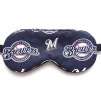 Milwaukee Brewers Sleep Mask, Man Woman Child Kid Toddler, Black Fleece Satin Cotton, MLB Baseball Fan, Accessory Gift Eye Shade Sleep Wear