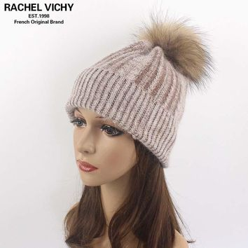 2017 Women Winter Knitted Hat Beanie For Girl Children Wool Angora Hat Real Raccoon Hair Ball Fur Pom poms New Thick Female Cap