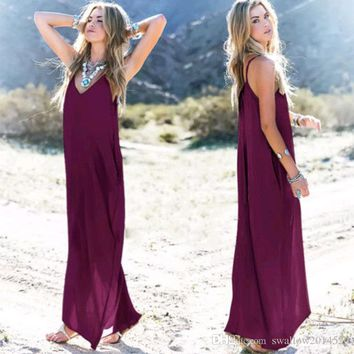 Hugely popular one-piece Maxi dresses Europe and the United States summer women irregular strap V neck pocket long skirts